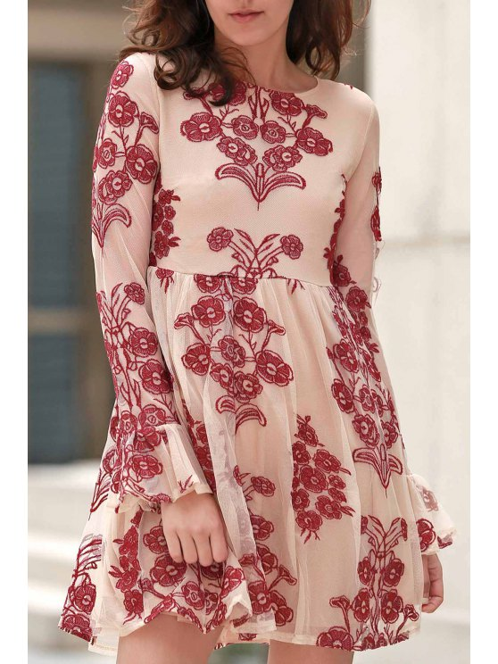 Long Sleeve Embroidered Mini Tulle Dress - WINE RED S Mobile