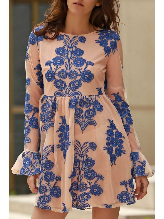 Long Sleeve Embroidered Mini Tulle Dress - BLUE S Mobile