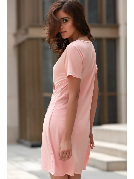 Solid Color Irregular Hem V Neck Tulip Dress - PINK M Mobile
