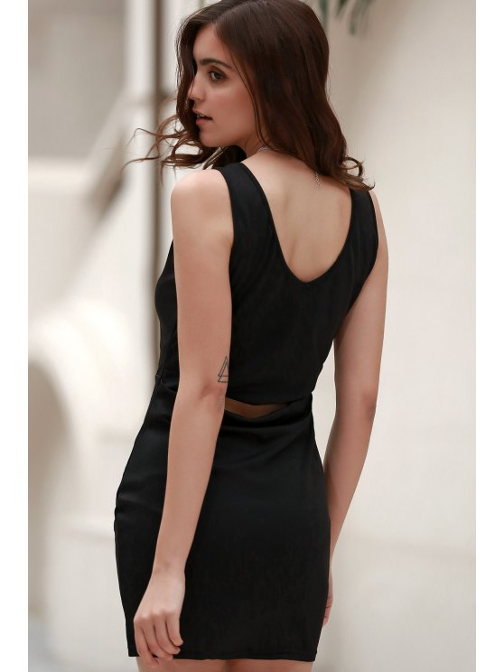 Black Packet Buttock Plunging Neck Sleeveless Dress - BLACK L Mobile
