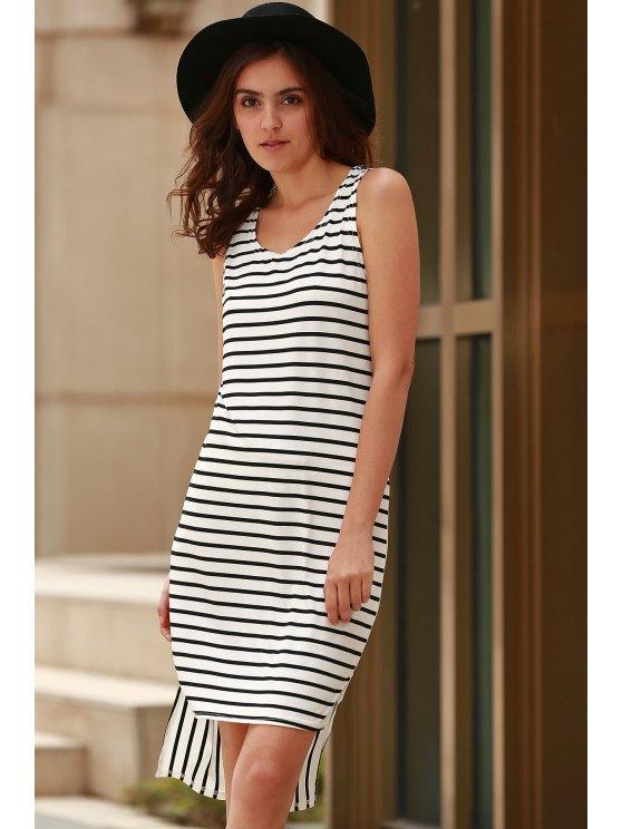 Striped High Low Scoop Neck Sleeveless Dress - BLACK XL Mobile