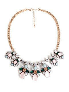 Glaring Faux Gemstone Floral Necklace