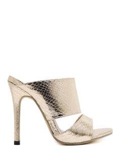 Metallic Color Stiletto Heel Slippers - Golden 37