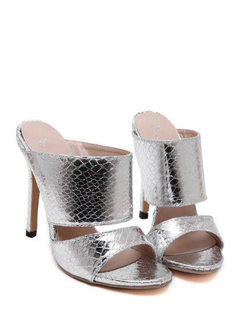 affordable Metallic Color Stiletto Heel Slippers - SILVER 38 Mobile