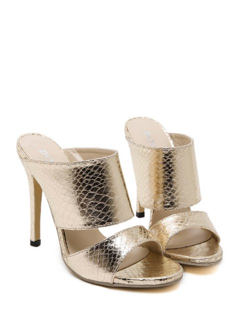 best Metallic Color Stiletto Heel Slippers - GOLDEN 37 Mobile