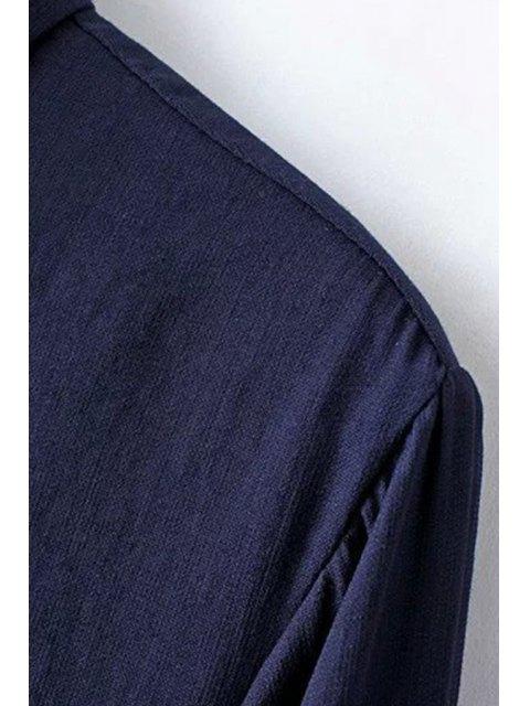new Solid Color Side Slit Shirt Collar Long Sleeve Shirt - LIGHT BLUE M Mobile
