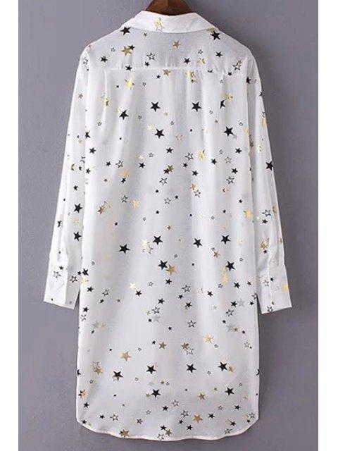 womens Loose Stars Print Turn-Down Collar Long Sleeve Chiffon Shirt - WHITE S Mobile