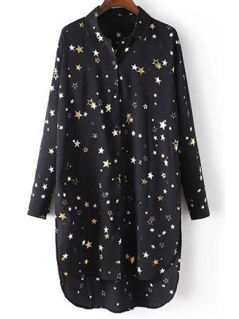 buy Loose Stars Print Turn-Down Collar Long Sleeve Chiffon Shirt - BLACK L Mobile