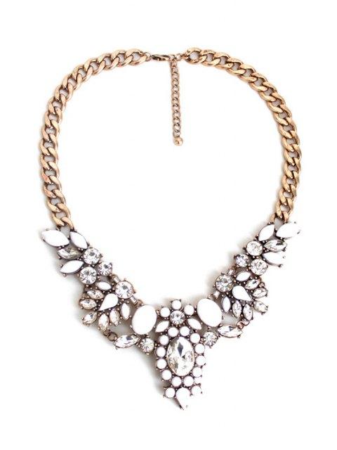 sale Faux Crystal Floral Necklace - GOLDEN  Mobile