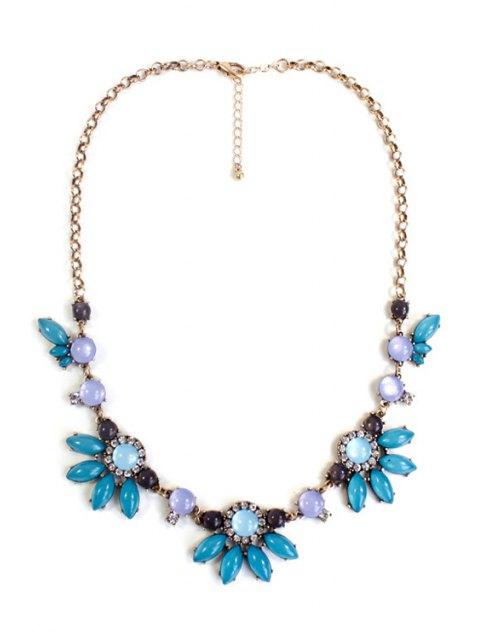 hot Floral Faux Gemstone Necklace - GREEN  Mobile