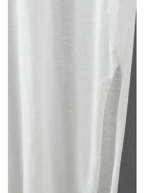 new Side Slit Round Neck Short Sleeve Maxi Dress - WHITE L Mobile