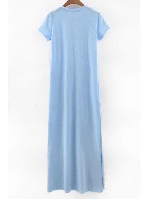 lady Side Slit Round Neck Short Sleeve Maxi Dress - LIGHT BLUE L Mobile