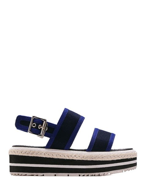 fancy Color Block Cloth Platform Sandals - BLUE 39 Mobile