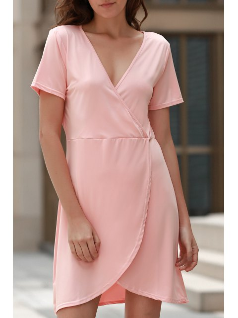 buy Solid Color Irregular Hem V Neck Tulip Dress - PINK S Mobile
