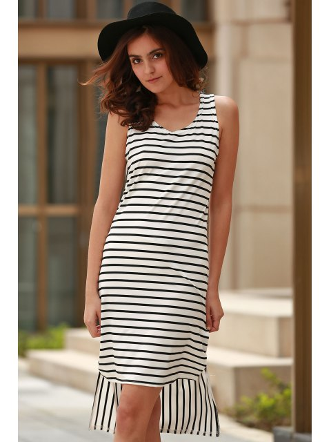 women Striped High Low Scoop Neck Sleeveless Dress - BLACK XL Mobile
