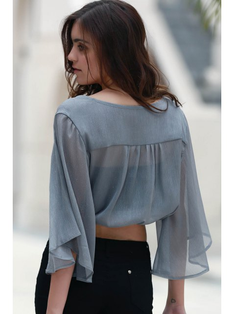 outfit Flare Sleeve Cropped Chiffon Top - GRAY L Mobile