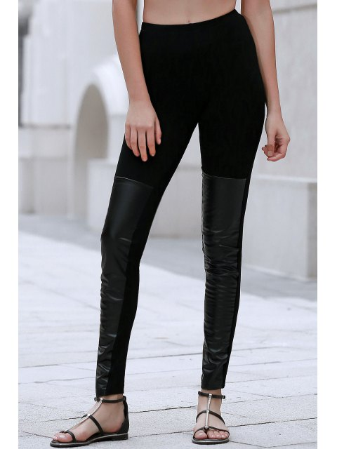 latest PU Leather Spliced Black Leggings - BLACK XL Mobile