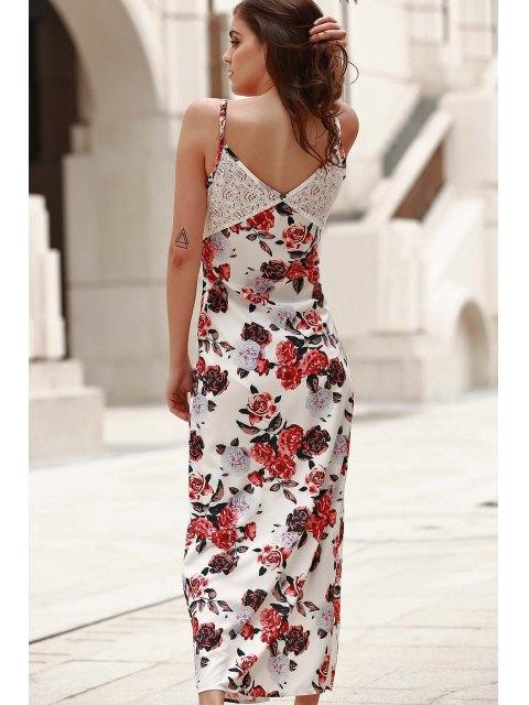 online Combined Lace Floral Print Maxi Dress - WHITE L Mobile