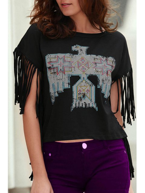 fashion Fringed Sleeve Square Cut T-Shirt - BLACK M Mobile