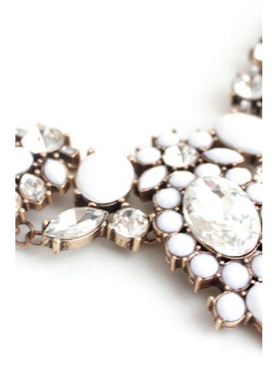 Faux Crystal Floral Necklace - GOLDEN  Mobile