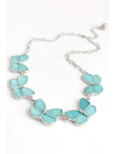 Glaring Faux Gemstone Butterfly Necklace - LIGHT BLUE  Mobile