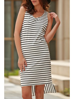 Striped High Low Scoop Neck Sleeveless Dress - Black