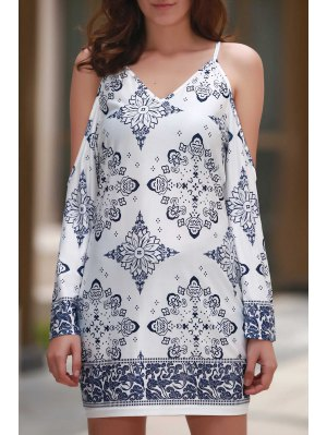Cut-Out Floral Print V Neck Dress - White