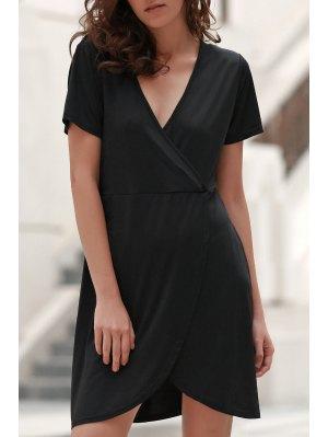Solid Color Irregular Hem V Neck Tulip Dress - Black