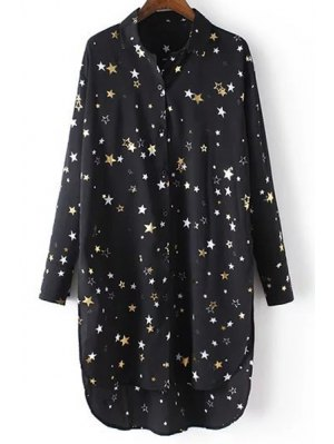 Loose Stars Print Turn-Down Collar Long Sleeve Chiffon Shirt - Black