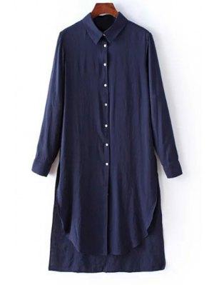 Solid Color Side Slit Shirt Collar Long Sleeve Shirt - Purplish Blue