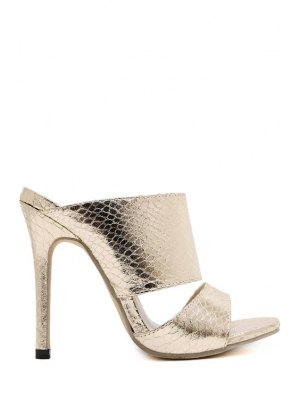 Metallic Color Stiletto Heel Slippers - Golden