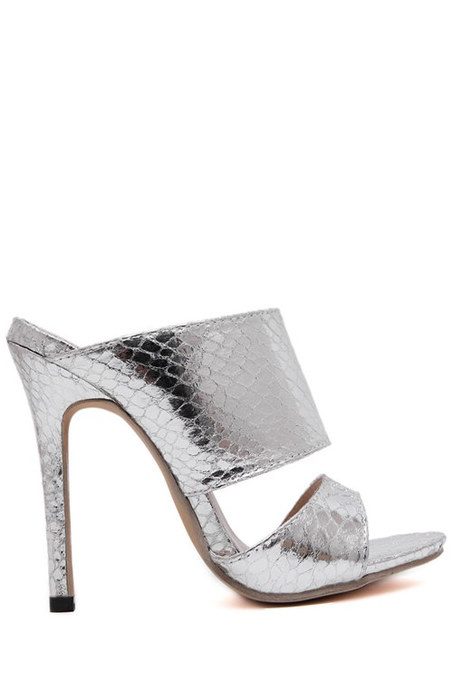 Metallic Color Stiletto Heel Slippers