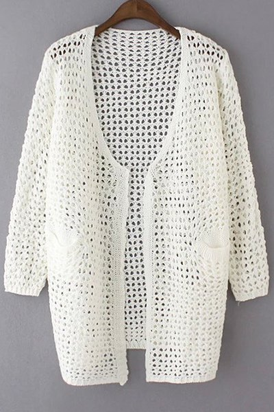 Loose Hollow Out Collarless Long Sleeve Cardigan