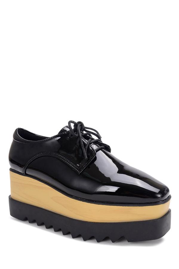 black lace up patent leather platform shoes black