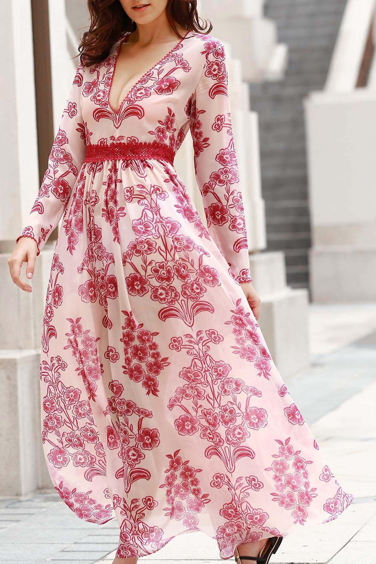 Deep V Neck Long Sleeve Flower Print Long Dress