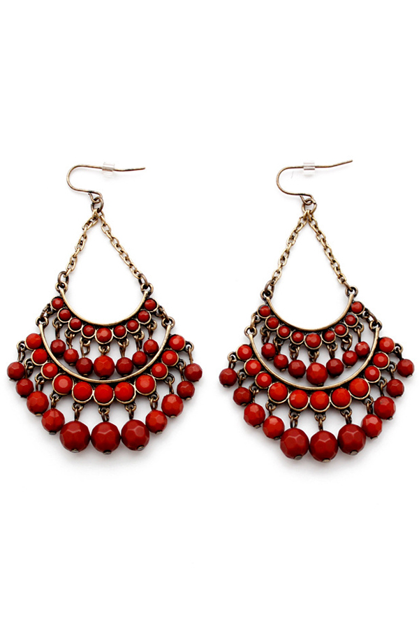 Pair of Stylish Multi-Layered Faux Gem Earrings For Women