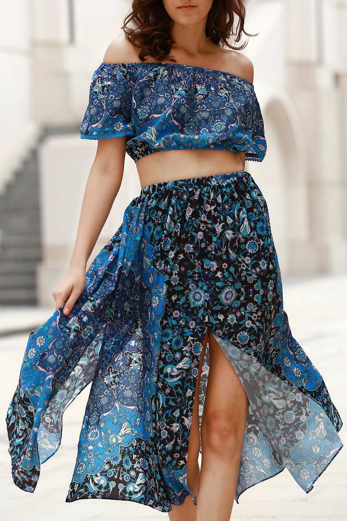 Off-The-Shoulder Crop Top + Printed Midi Skirt Twinset