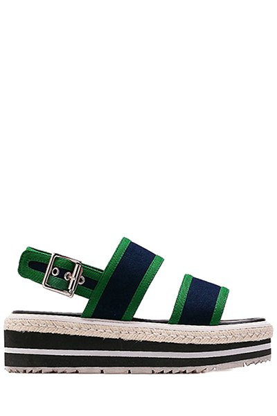 Color Block Cloth Platform Sandals