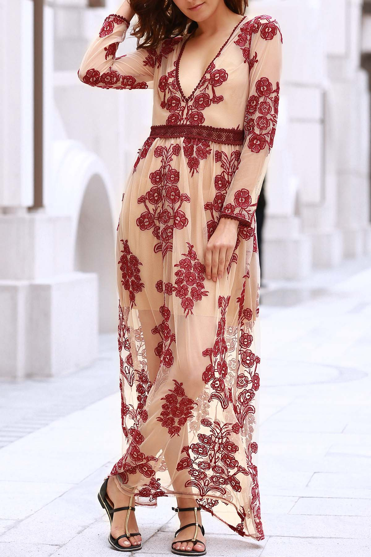 Plunging Neck Long Sleeve Floral Embroidery Maxi Dress