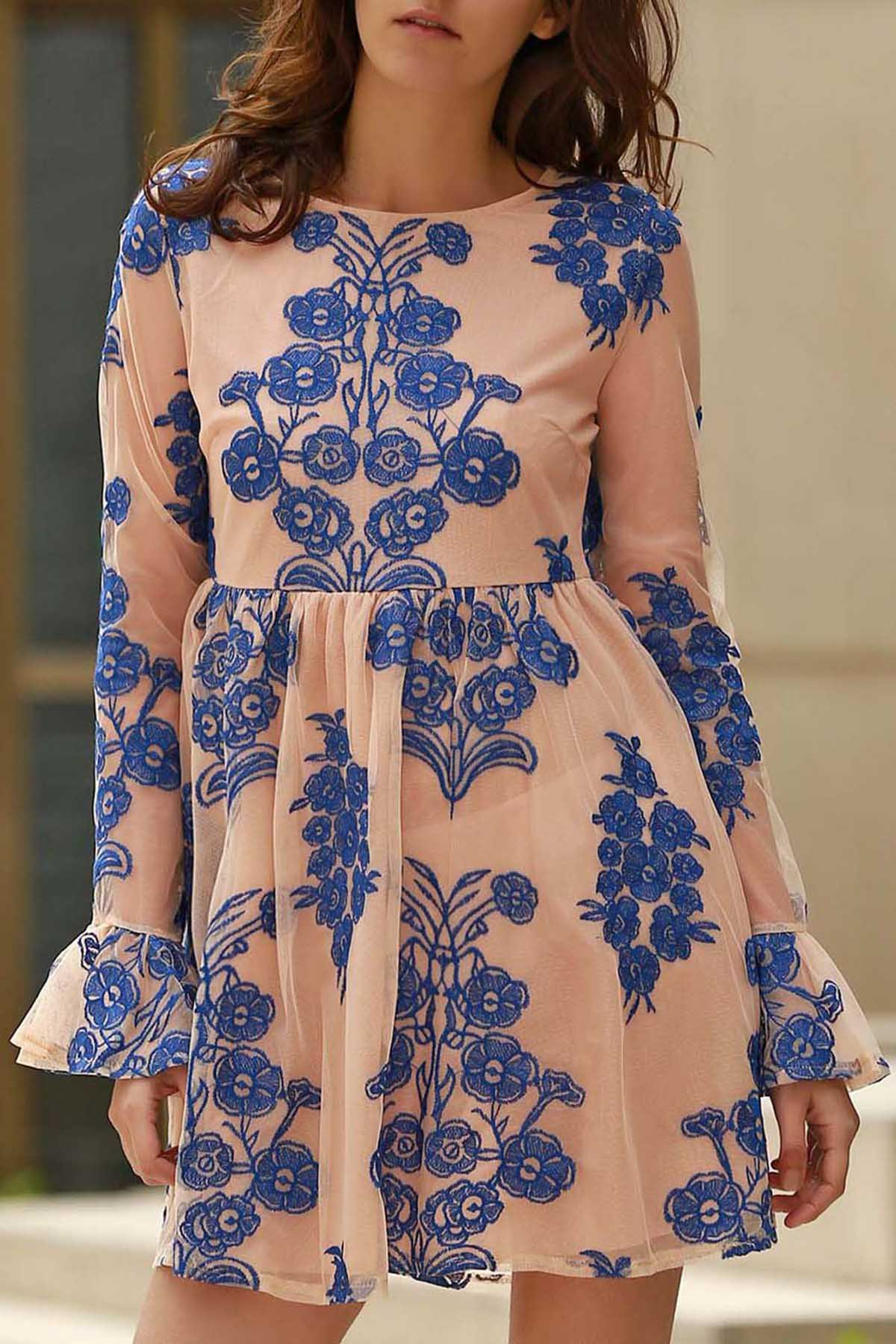 Long Sleeve Floral Embroidered Tulle Dress