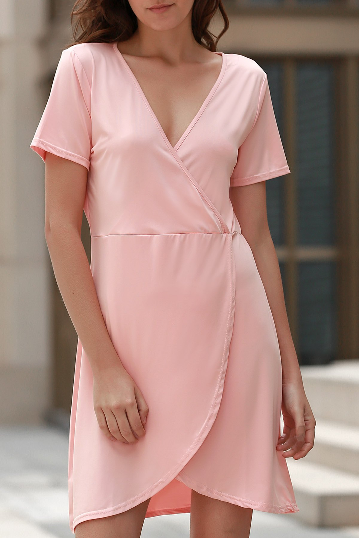V Neck Short Sleeve Solid Color Irregular Hem Dress