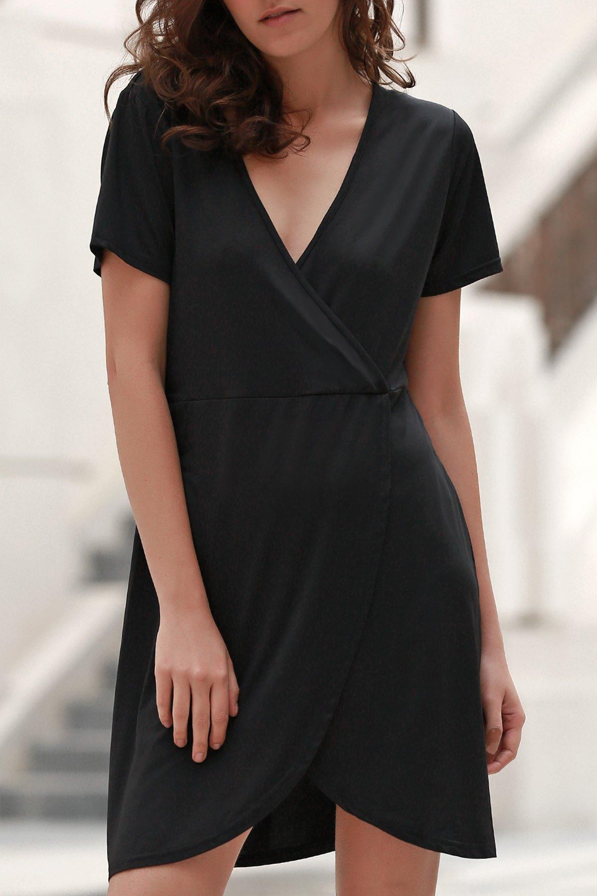 V Neck Short Sleeve Solid Color Irregular Hem Dress