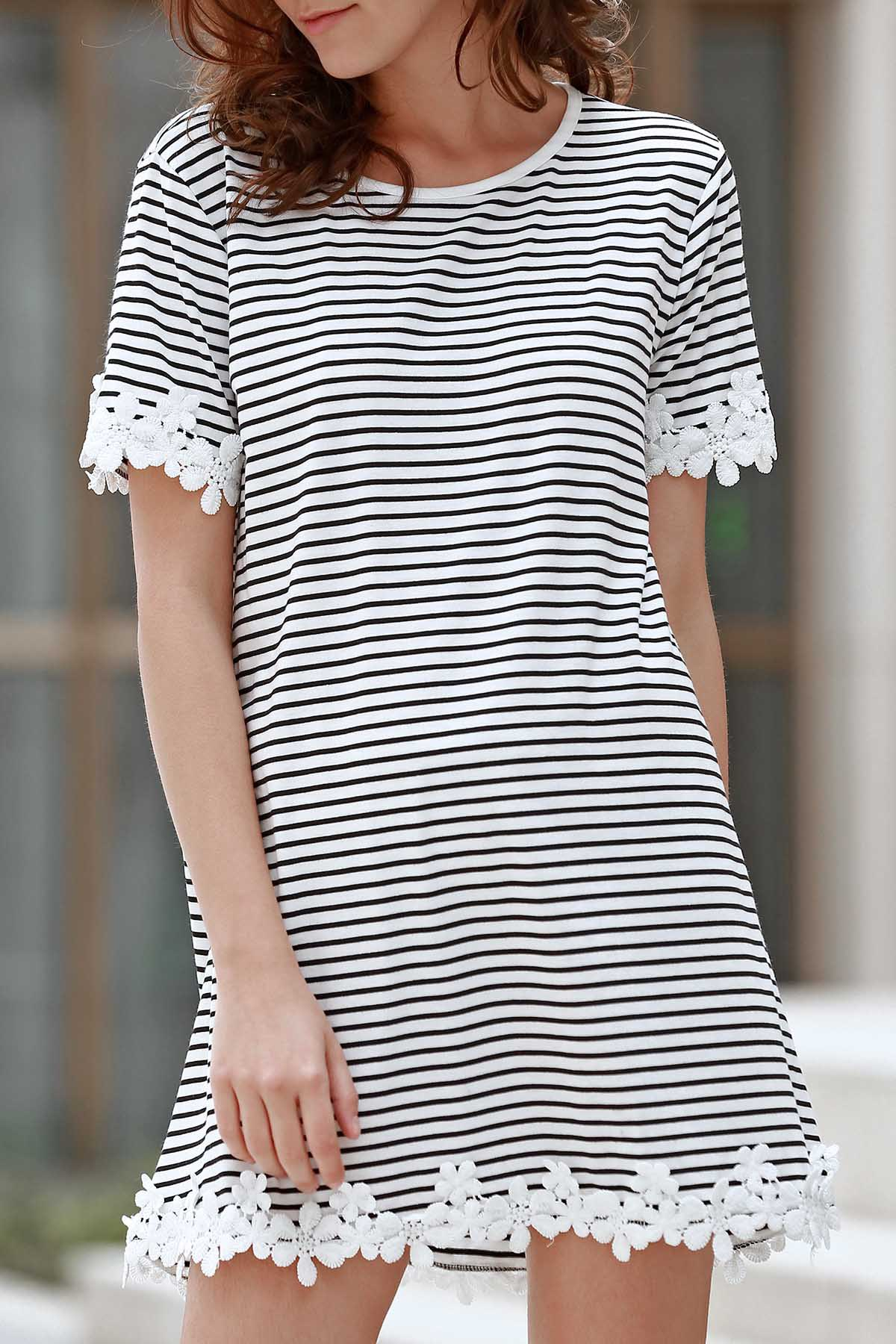 Round Neck Short Sleeve Trimming Striped Dress