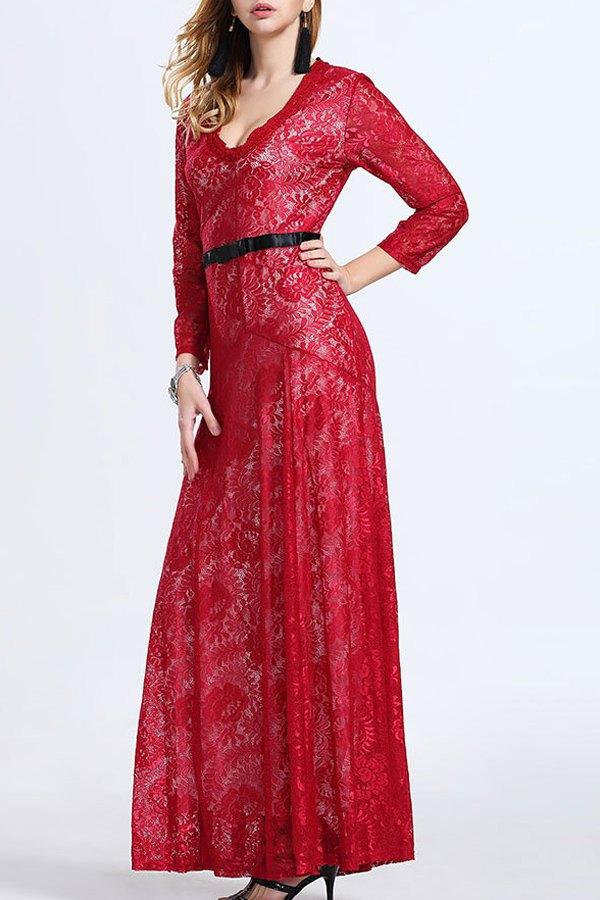 V Neck 3/4 Sleeve Lace Maxi Dress
