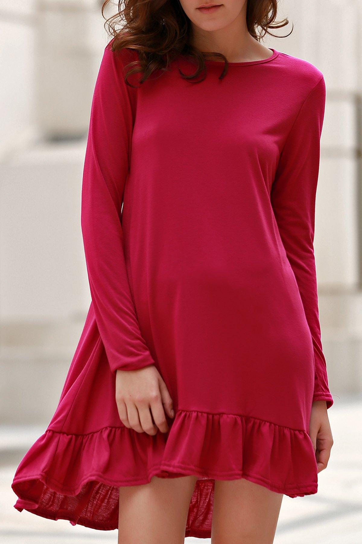Round Neck Long Sleeve Flounce Ruffles Dress