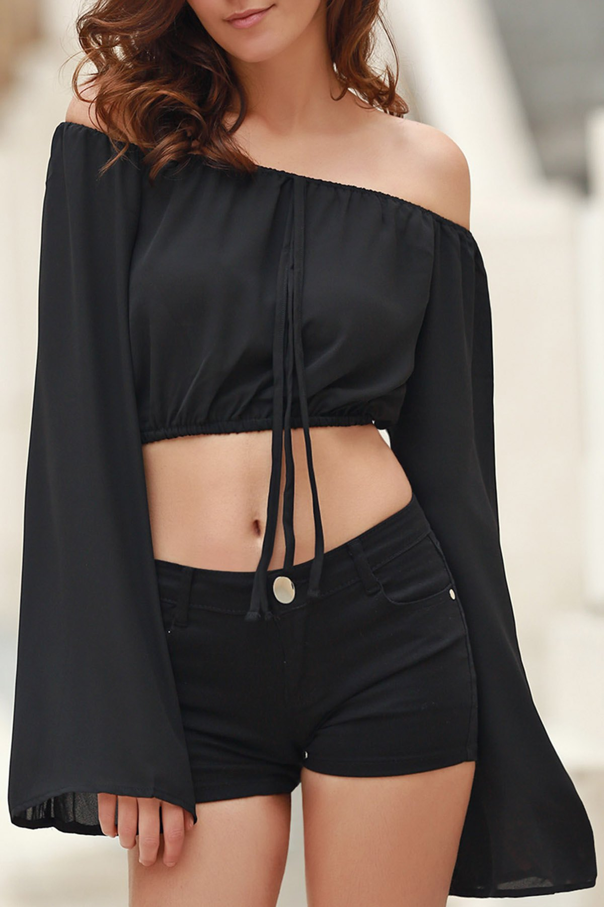 Boat Neck Puff Sleeve Off The Shoulder Chiffon Crop Top