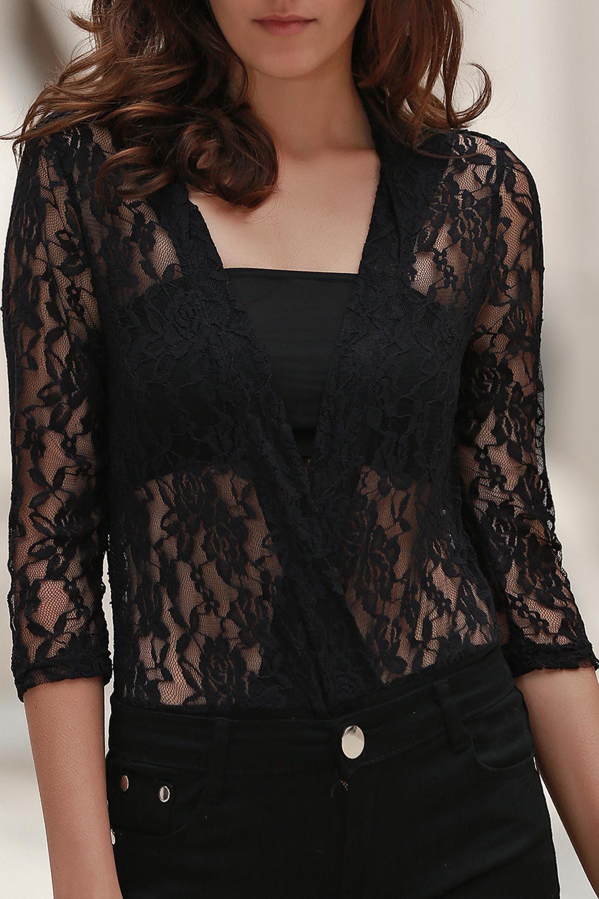 Buy Crochet Flower See-Through Bodysuit BLACK XS