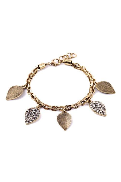 Chic Rhinestone Leaf Drop Bracelet