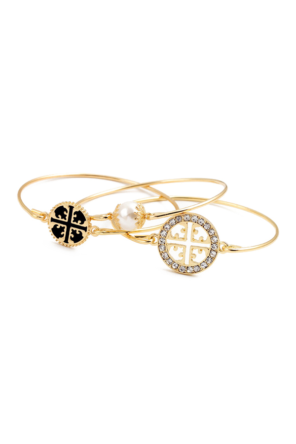 3PCS Rhinestone Faux Pearl Bracelets
