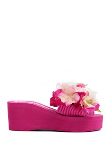 Flowers Elastic Platform Slippers